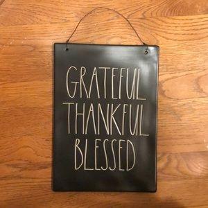 NEW Rae Dunn GRATEFUL THANKFUL BLESSED Black Sign